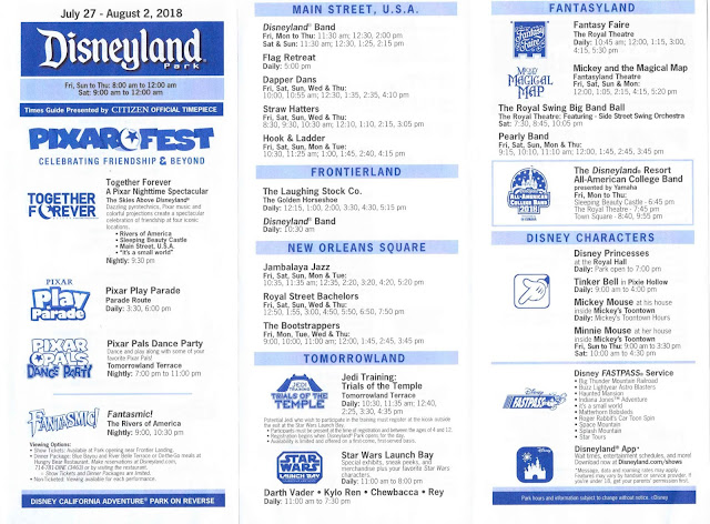 Disneyland Times Guide July 2018 Pixar Fest