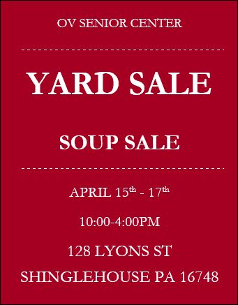 4-15/16/17 Soup Sale, OV Senior Center