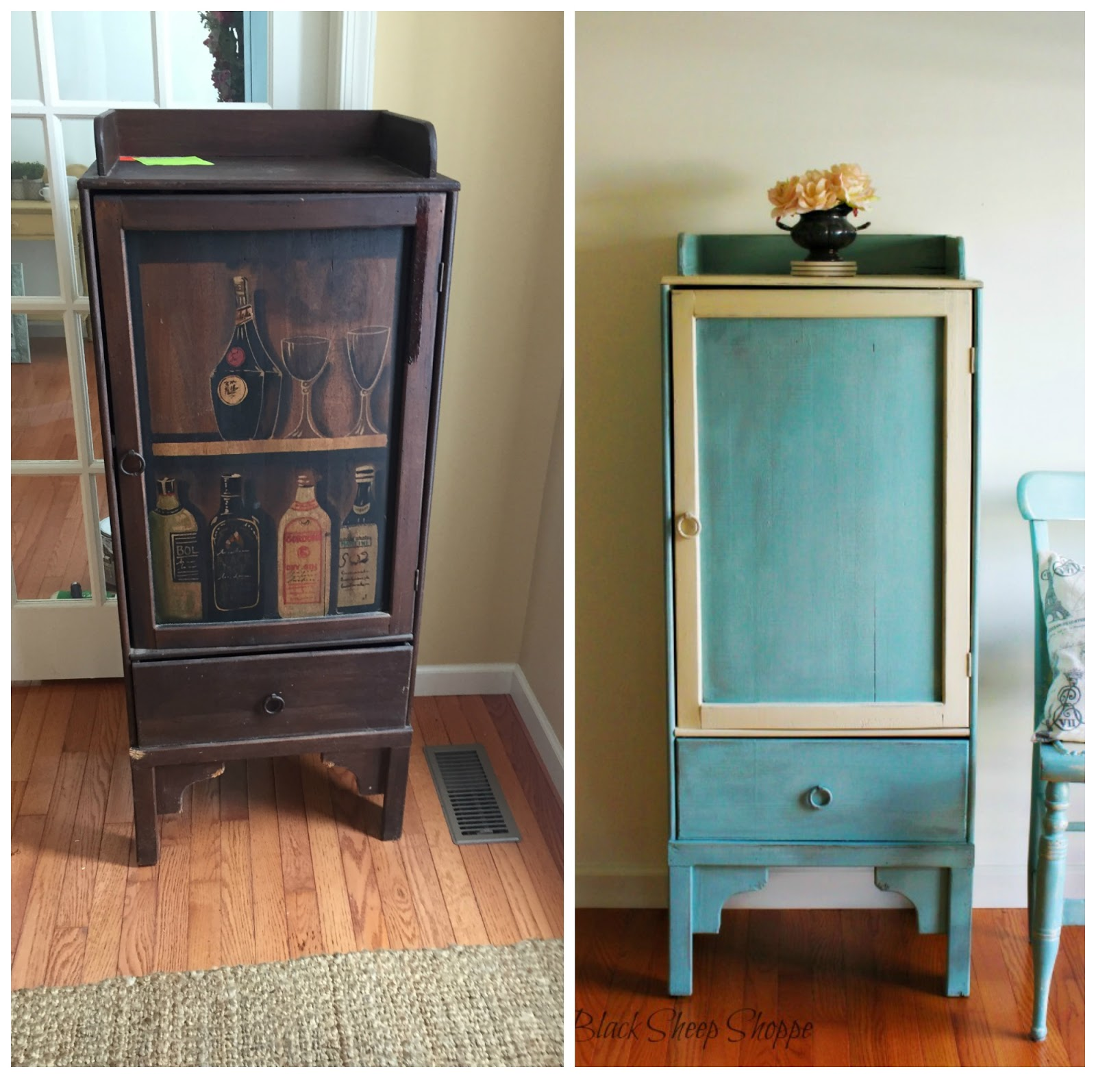 The once dark and dingy liquor cabinet is now a functional storage piece.