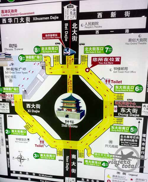 Plano de la Torre de la campana d eXi'an, China