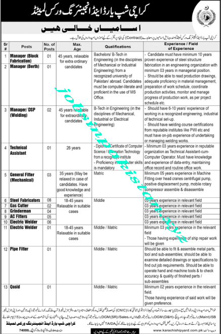 Karachi Shipyard Jobs 2018 Advertisement