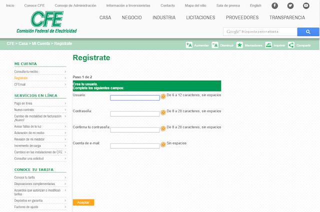 página oficial de CFE