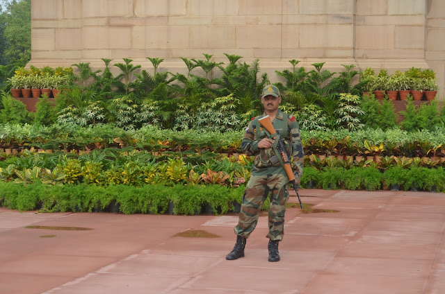 Indian Army soldier guarding India Gate, Delhi