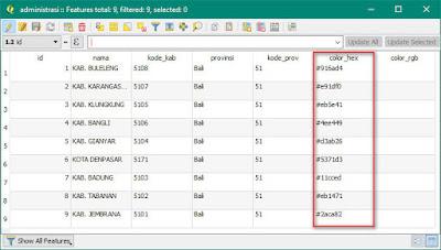Tabel Layer Administrasi Provinsi Bali dengan file color sudah terisi dengan kode warna
