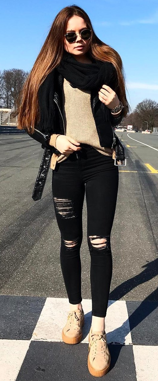 nude and black fashion trends | jakcet + sweater + rips + sneakers + scarf