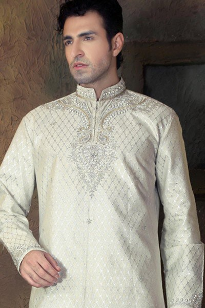 New Fashion Styles Latest Gents White Kurta Design 2013