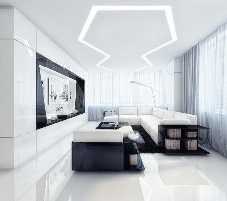 Design And Furniture Futuristic Aircraft Style Livingroom Black And White Space