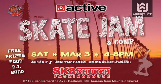 Skate Church Skate Jam and Competition at the Packinghouse Church in Redlands. Saturday, March 3, 2018 from 4 to 8 pm