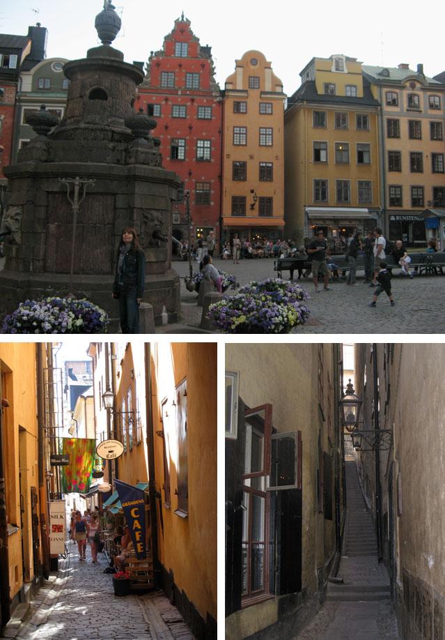 La plaza Stortorget (arriba), una calle de Gamla Stan (abajo a la izda.) y el callejón Mårten Trotzigs Gränd
