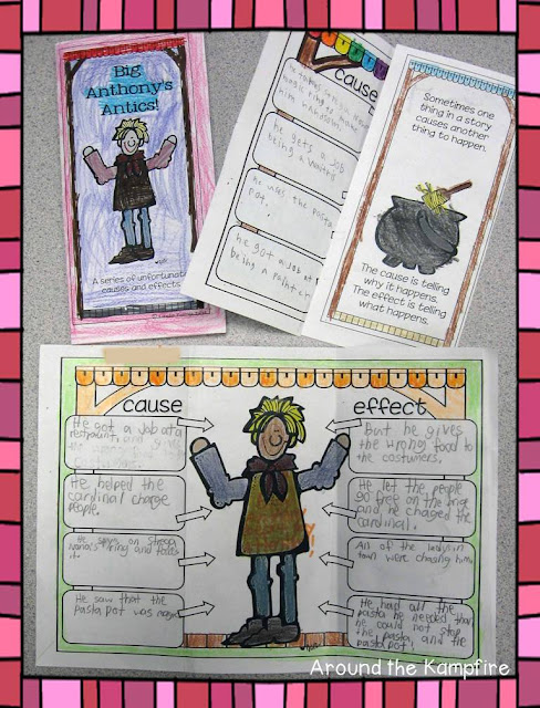 Cause and effect tri fold activity during our Tomie dePaola author study | Around the Kampfire blog