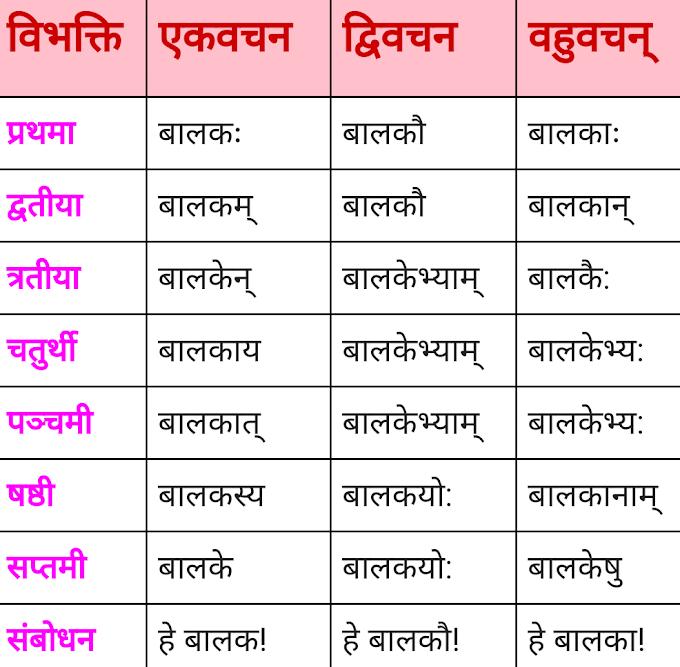 बालक शब्द के रूप - Balak ke roop  - संस्कृत