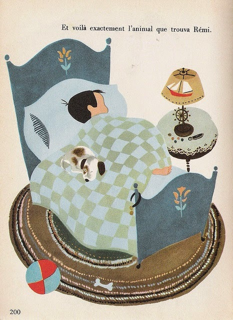 illustration by Aurelius Battaglia of a boy and his dog sleeping