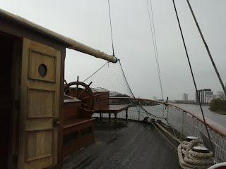 loď v prístave v Glasgowe