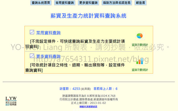 行政院主計總處台灣工作之薪資及生產力統計資料