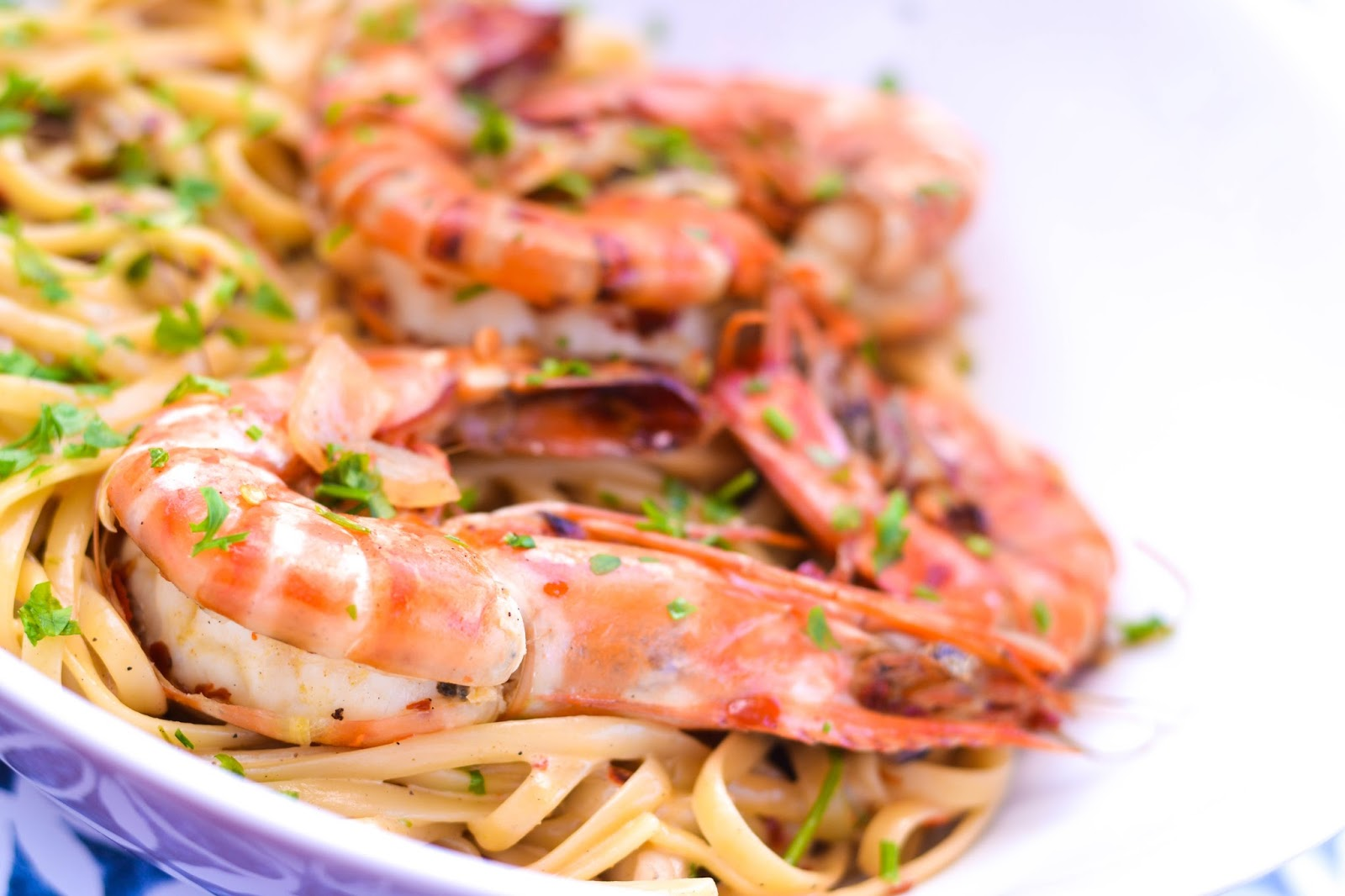 King Prawn Linguine with parsley