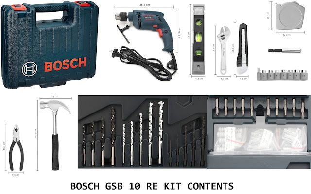 Contents of BOSCH GSB 10 RE Home kit