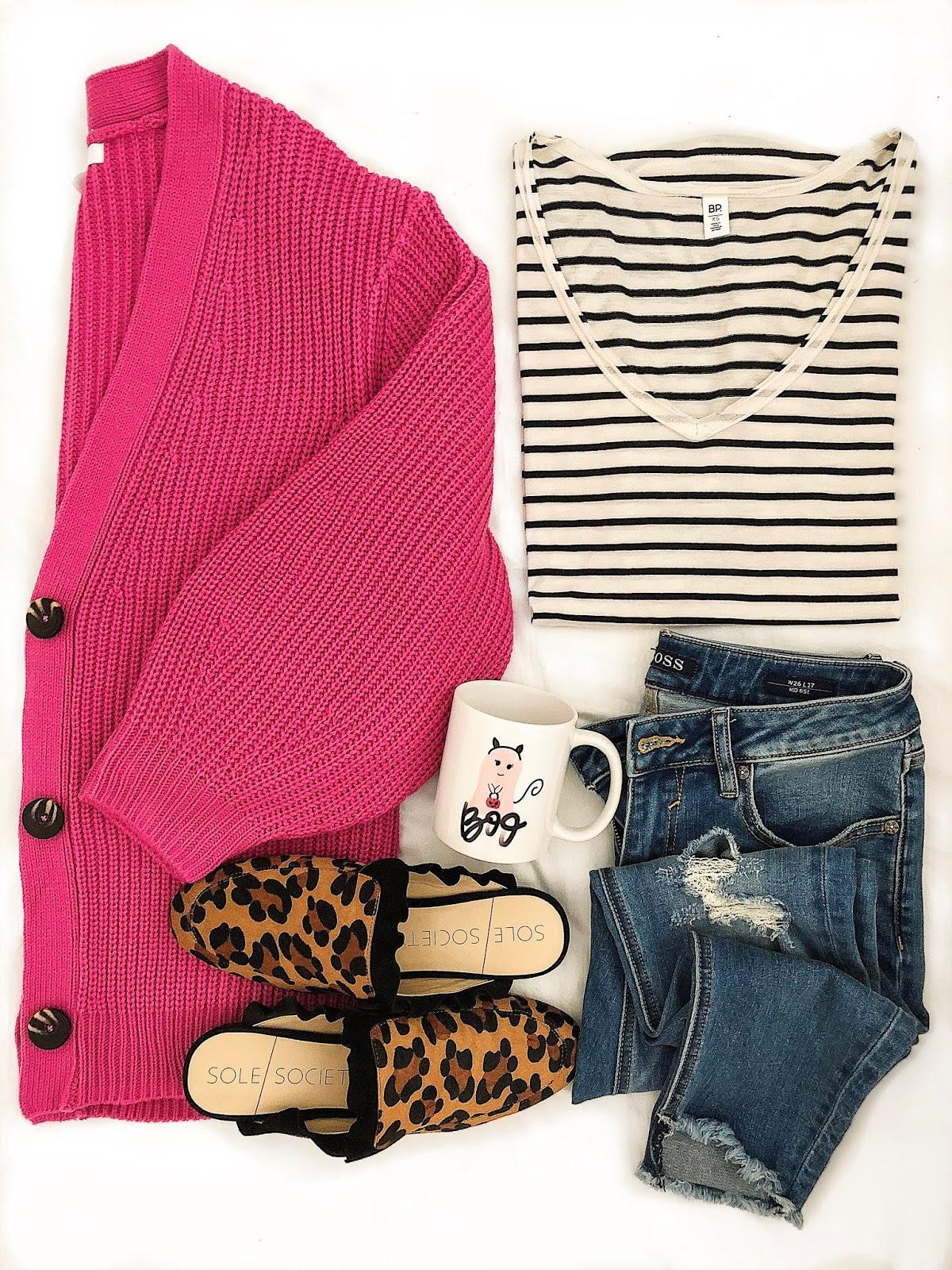 Fall Look: Pink Cardigan, Striped Tee and Leopard Mules - Something Delightful Blog