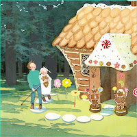 Hansel and Gretel arrive at the gingerbread house