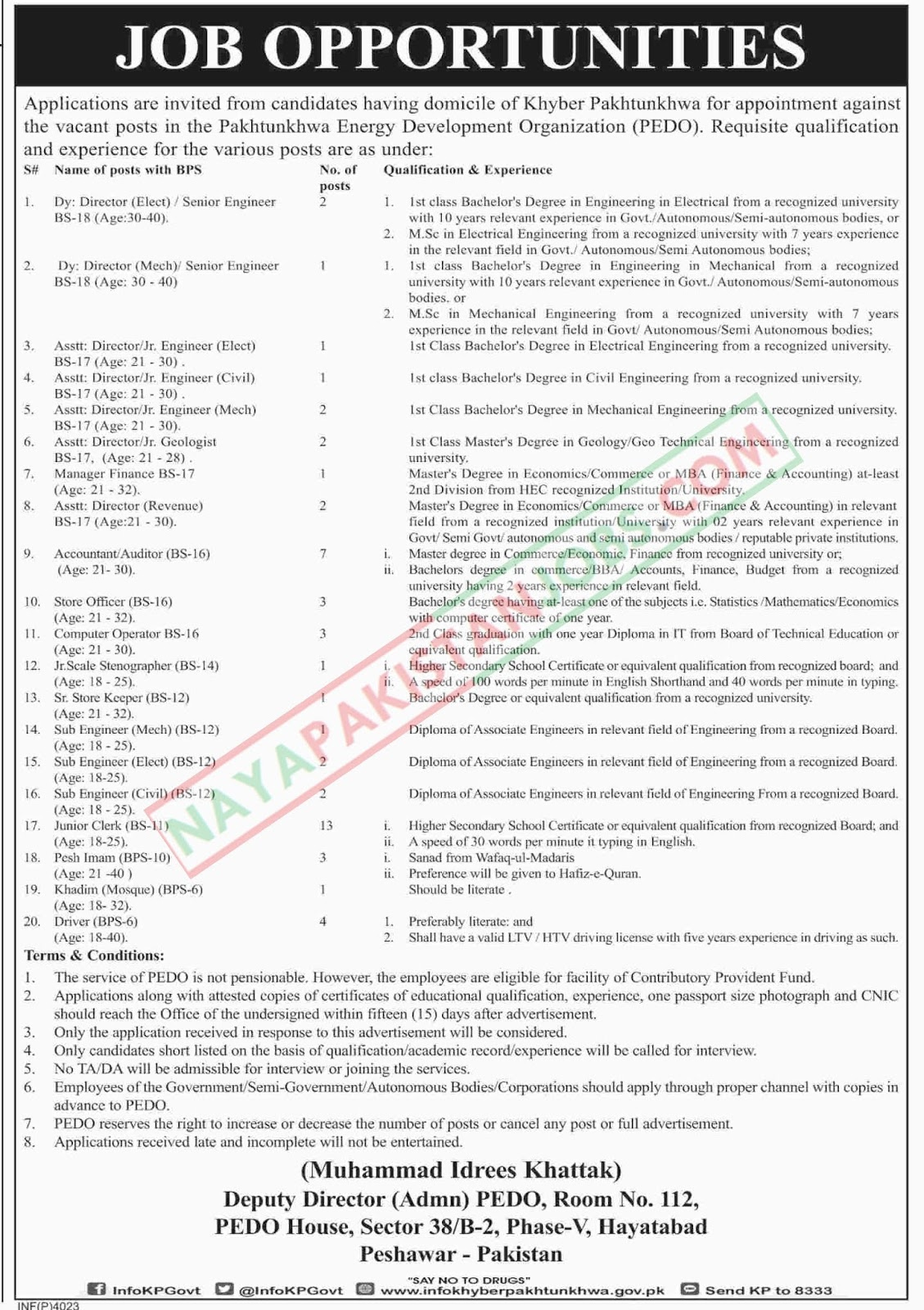 Latest Vacancies Announced in Pakhtunkhwa Energy Development Organization 19 October 2018 - Naya Pakistan
