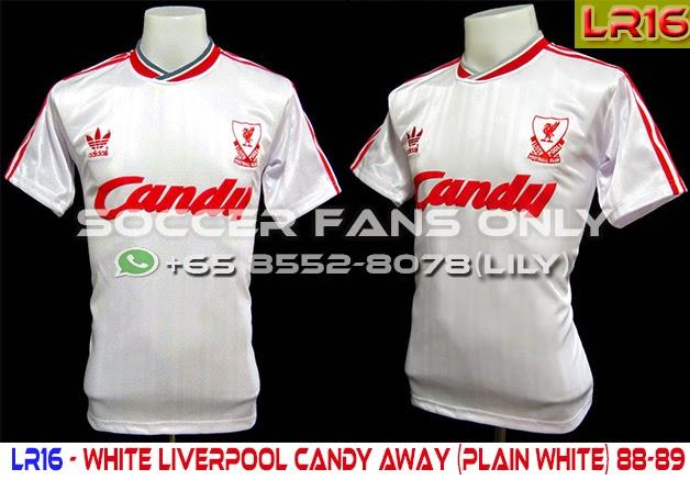 half off 01492 27516 LFC Retro SG: White Liverpool Candy Away (Plain White) 88-89
