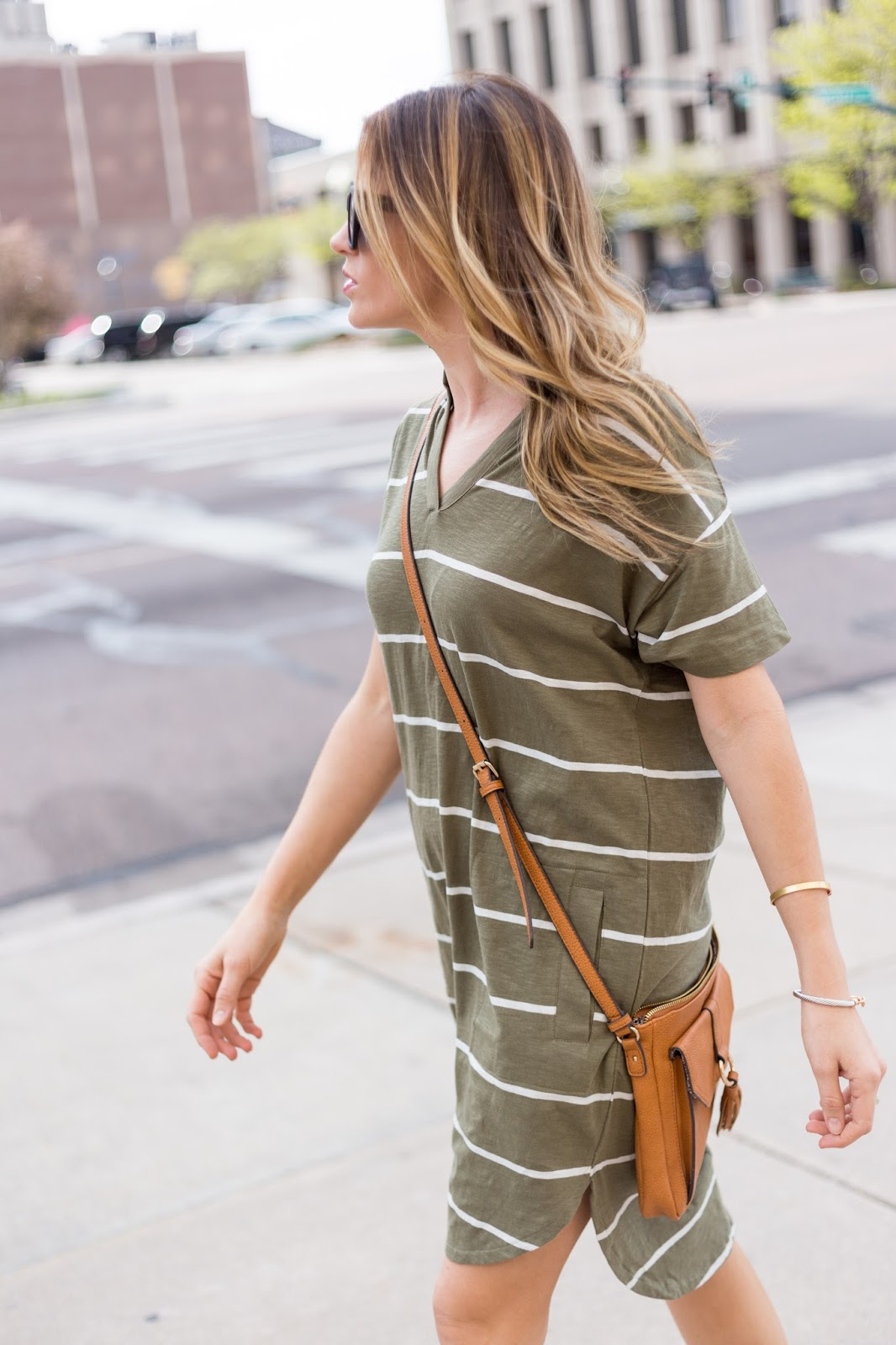 Green Shirt Dress with Camel Crossbody