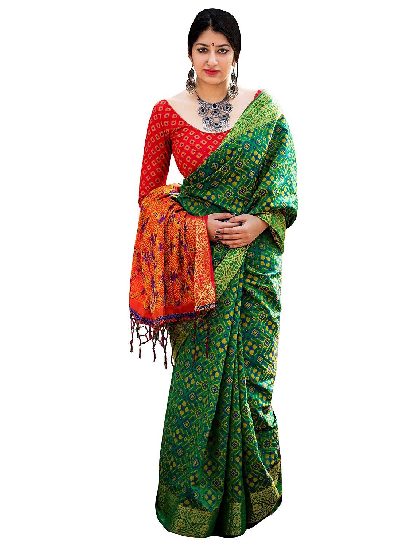 Applecreation Women'S Patola Silk Saree With Blouse Piece