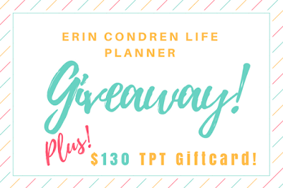 Who wants a FREE Erin Condren life planner and a TPT giftcard?!  Hope on over to enter!  Make sure to send this pin to a friend who would love the chance to win!