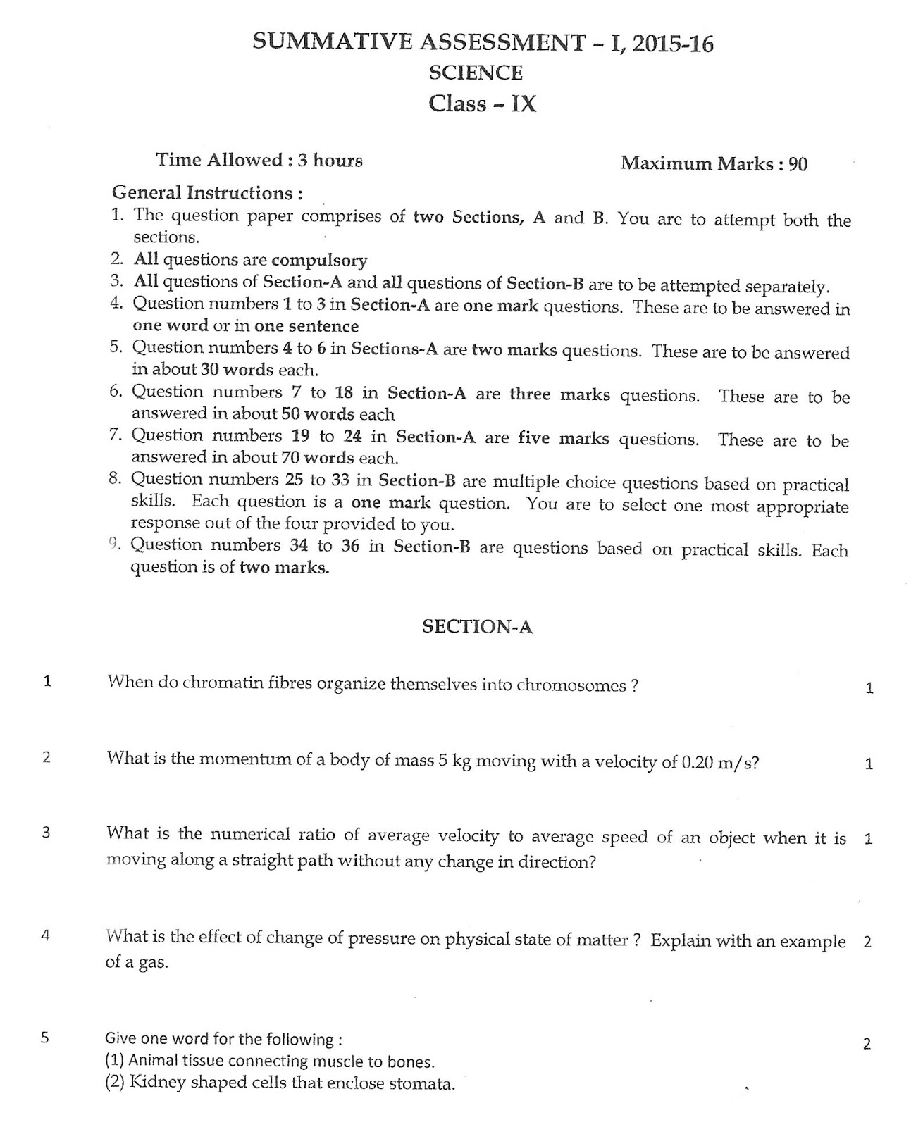 Test Papers For Class 9 Cbse Science