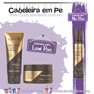 Condicionador (Low Poo) e Fluido Revitalizante (No Poo) Protect Care Power Nutri  - Lowell