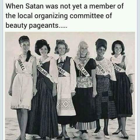 Hilarious meme about an olden days photo of Miss World pageantry