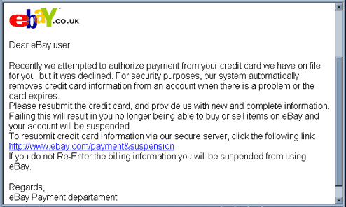 eBay Phishing email example