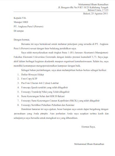 Contoh Surat Lamaran Pt Angkasa Pura 2