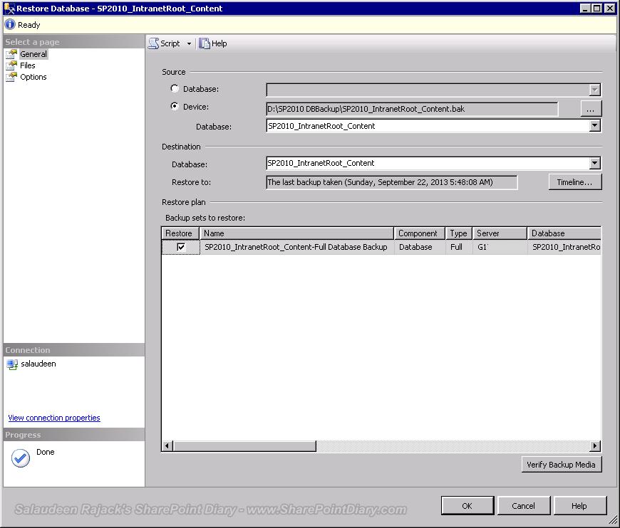 Restore SharePoint Databases in SQL Server