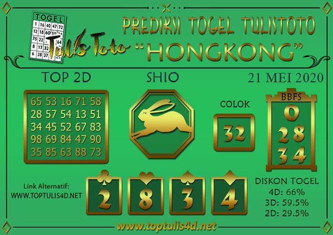 Prediksi Togel HONGKONG TULISTOTO 21 MEI 2020