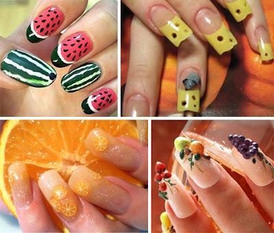 Diseño de uñas con motivos frutales
