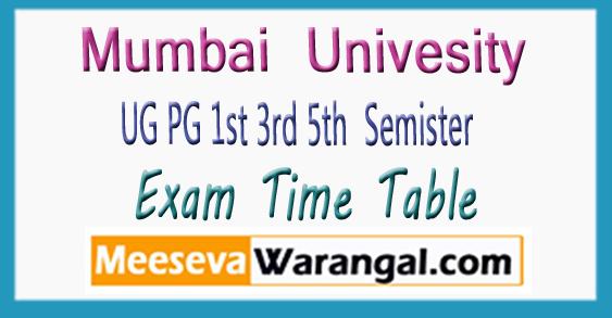 University Of Mumbai UG PG 1st 3rd 5th Semister Exam Time Table 2017-18