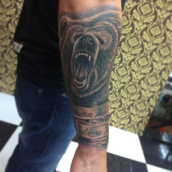 bear tattoo man arm
