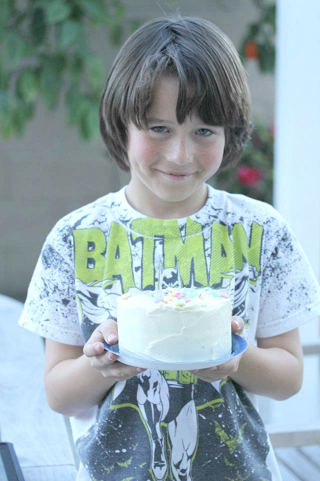 Kid with a cake