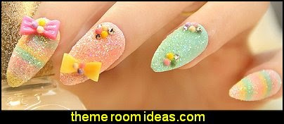 Rainbow color Sundae false nails art decoration