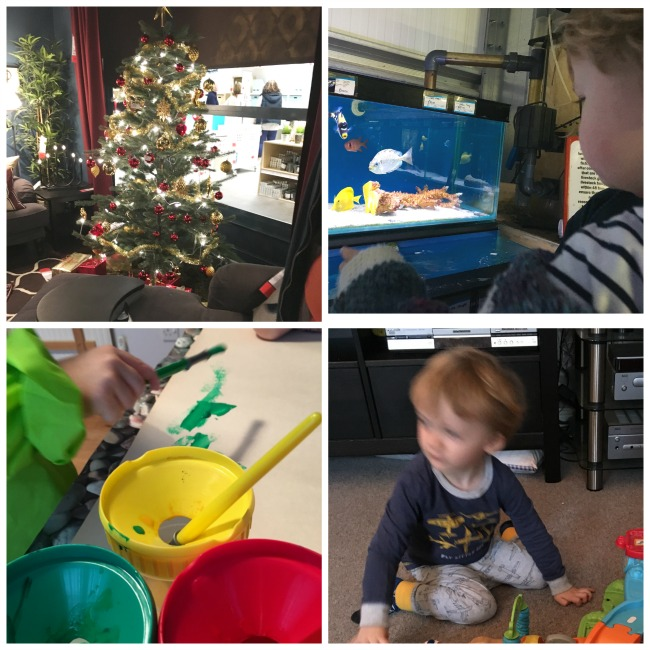 Traffic-Jams-and-Trumpets-collage-of-pictures-christmas-tree-painting-blurred-image-of-toddler-