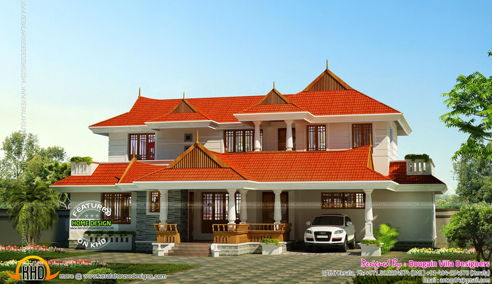 Kerala traditional style 4bhk house kerala home design for Designer house plans