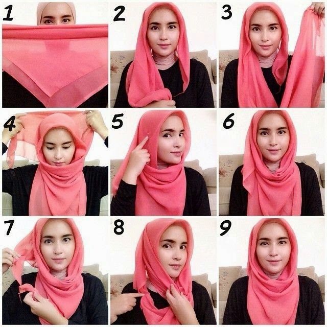 Cara Pemakaian Jilbab Segi Empat
