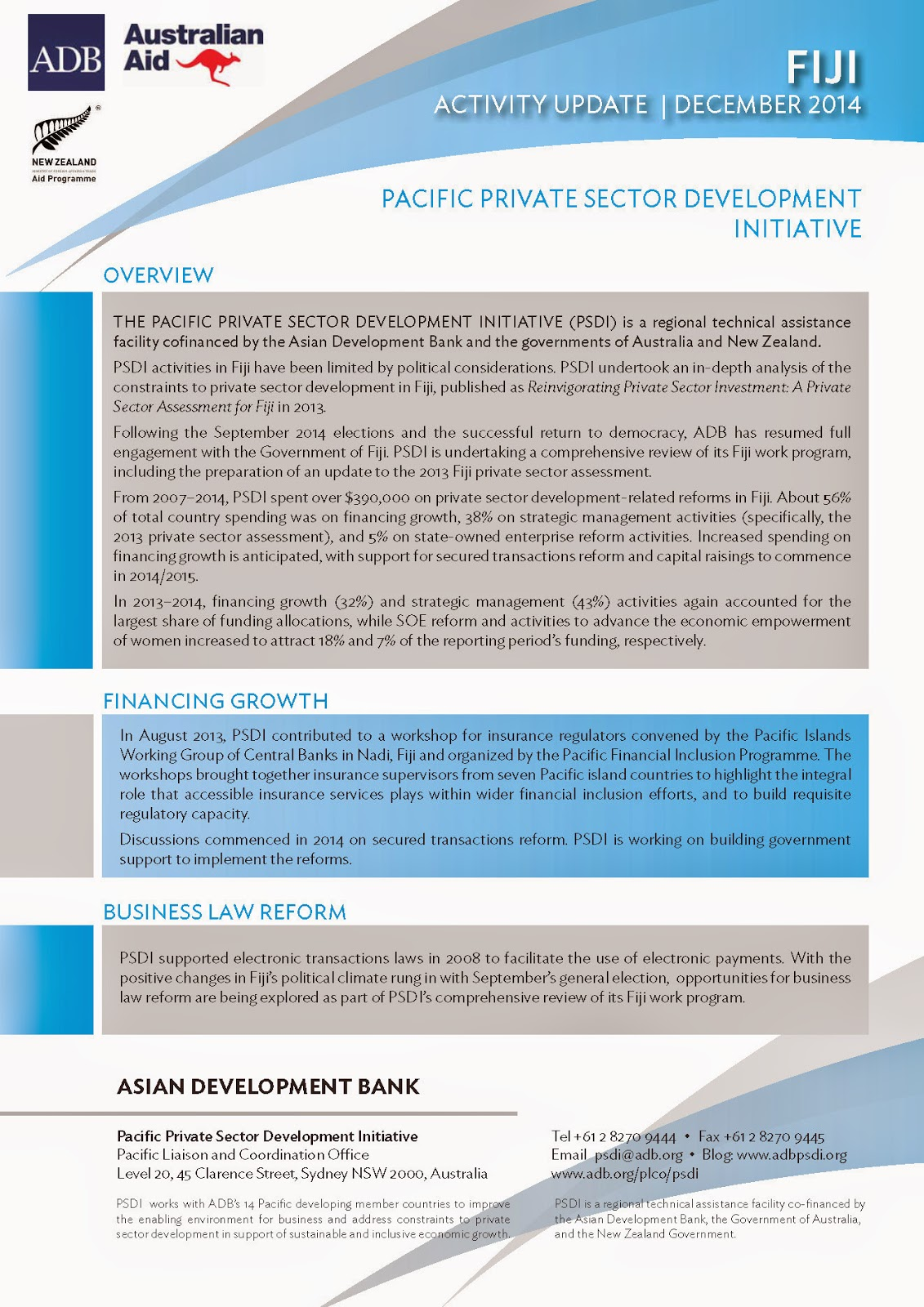 PACIFIC PRIVATE SECTOR DEVELOPMENT INITIATIVE: What is PSDI doing in