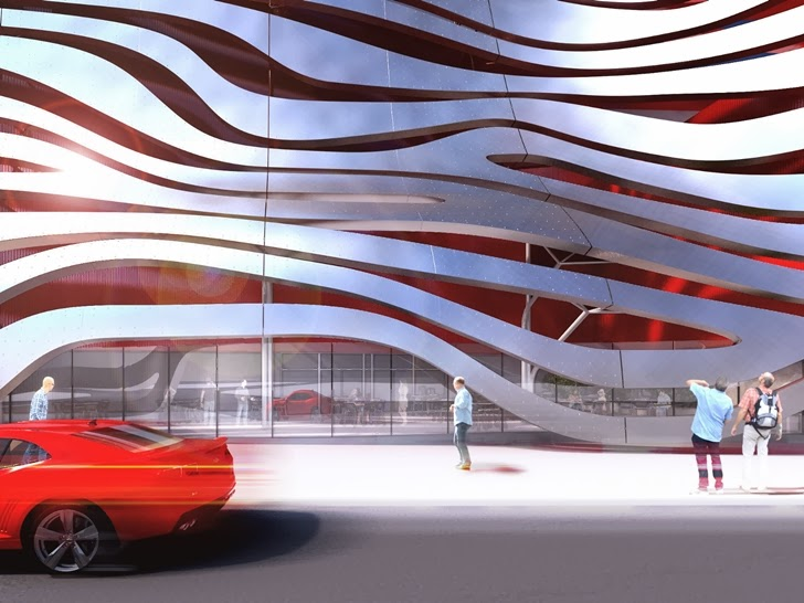 Close up pf the new facade on Petersen Automotive Museum in Los Angeles