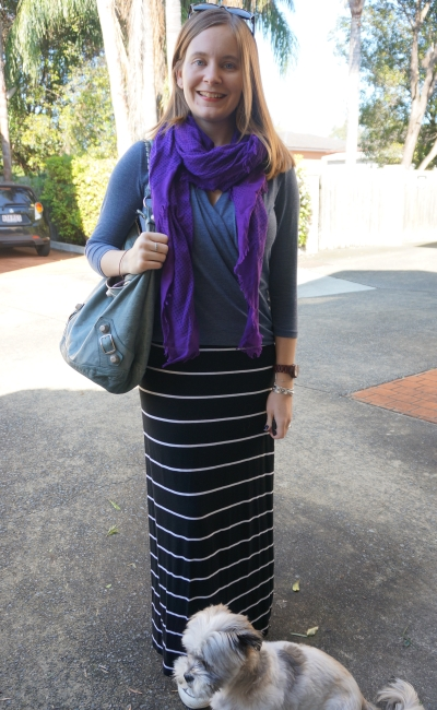 purple scarf blue wrap top striped maxi skirt casual SAHM style | AwayFromBlue