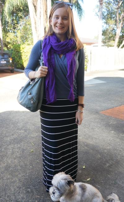 purple scarf blue wrap top striped maxi skirt casual SAHM style | AwayFromBlue