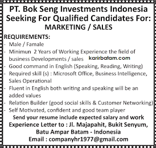 Lowongan Kerja PT. Bok Seng Investments Indonesia