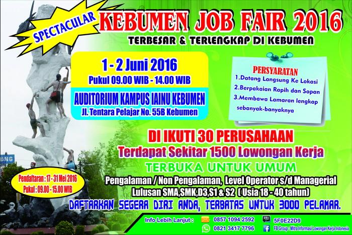 Jobfair Bursa Kerja Kabupaten Kebumen pada bulan mei 2016
