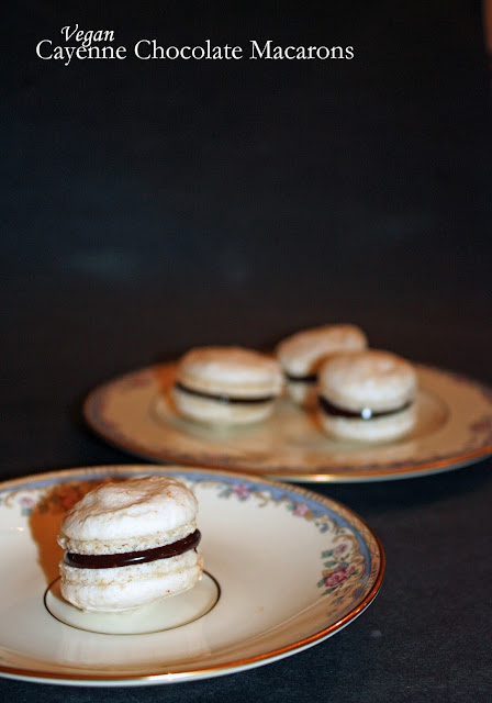vegan cayenne macarons with chocolate ganache