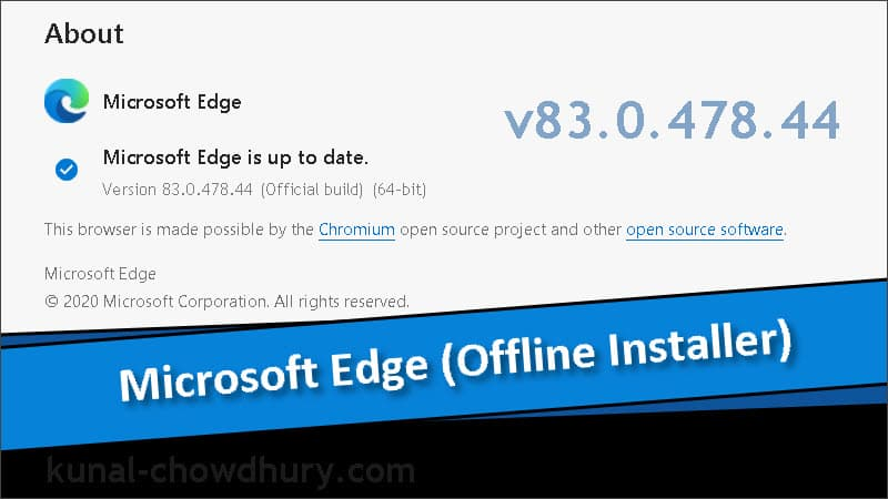 Microsoft Edge offline installer version 83.0.478.44 (stable) is now available for download